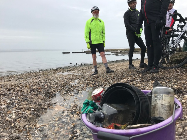 Rubbish collected on the lane to the beach