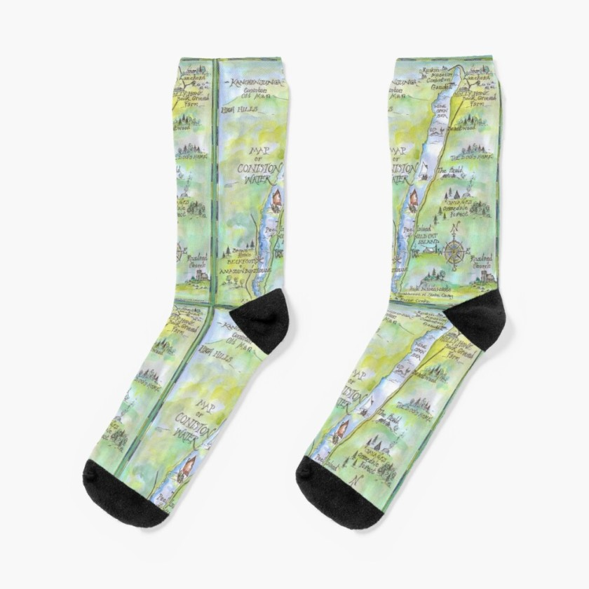 Sophie Neville's Map of Coniston Water on Socks