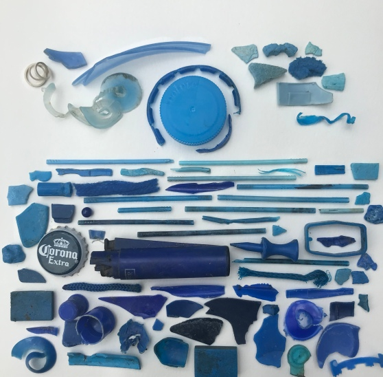 Seascape - artwork by sophie Neville made from sea-plastic