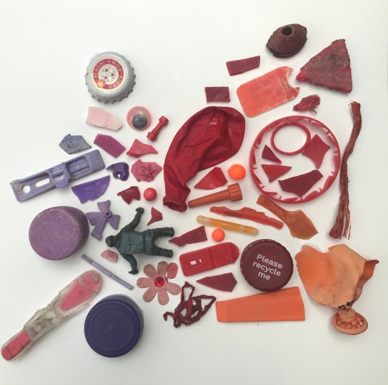 'The end of the world' a collage made of sea-plastic by Sophie Neville