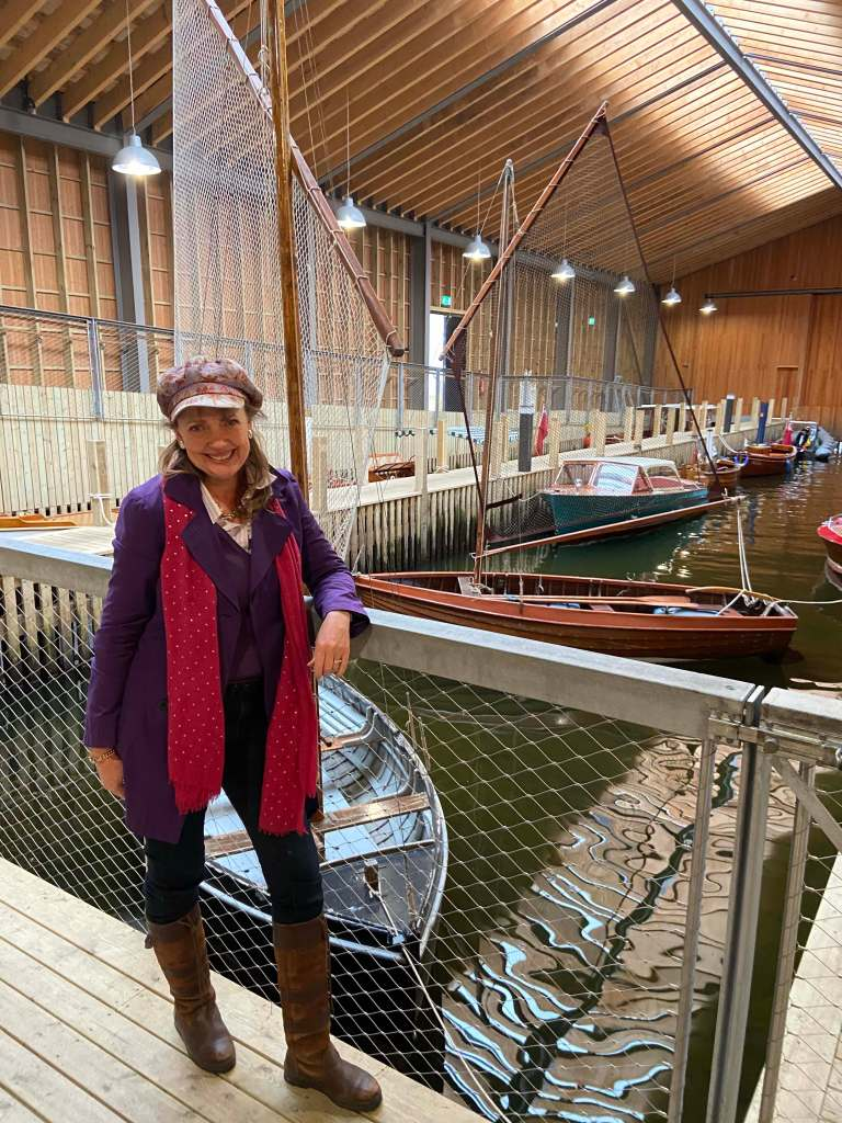 Sophie Neville visiting Windermere Jetty museum in Cumbria