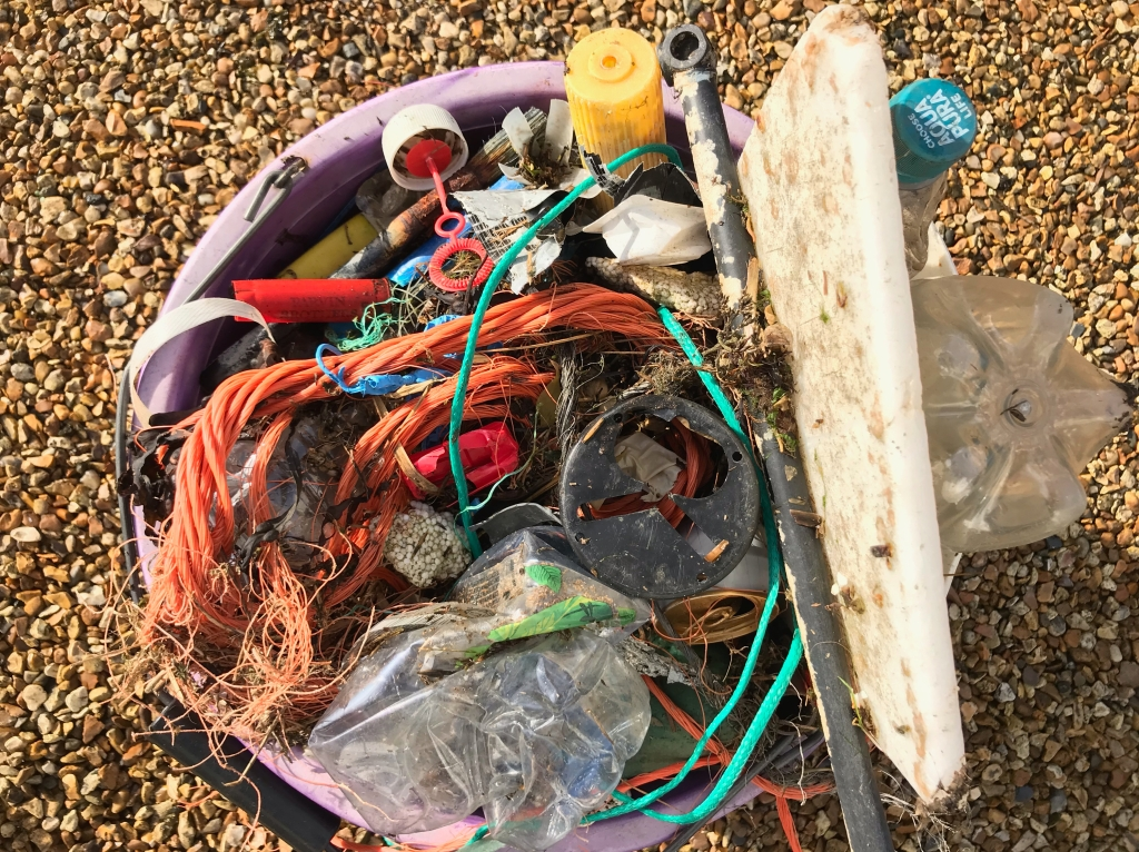 Plastic pollution collected from Solent shores Dec 2020 - photo Sophie Neville